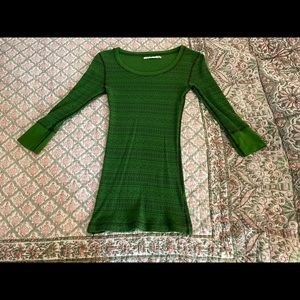 Rubbish green waffle knit ls top SM